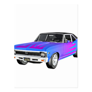 1968 AM Muscle Car in Purple and Blue Postcard