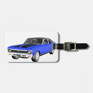 1968 Blue Muscle Car Luggage Tag