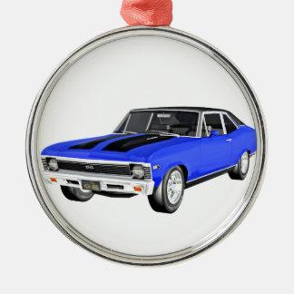 1968 Blue Muscle Car Metal Ornament