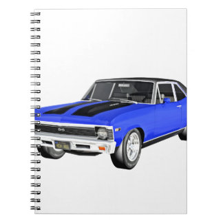 1968 Blue Muscle Car Notebooks