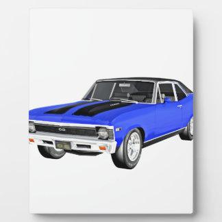1968 Blue Muscle Car Plaque