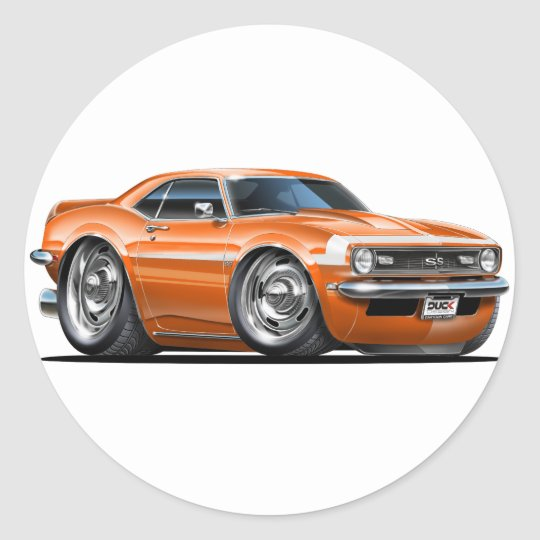 1968 Camaro Orange-White Car Classic Round Sticker