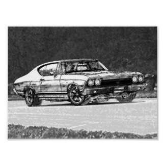 1968 Chevelle Pencil Sketch Poster