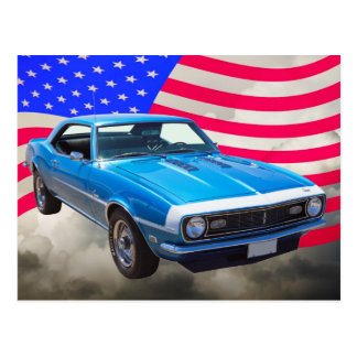 1968 Chevrolet Camaro And American Flag Postcard