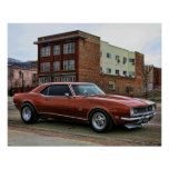 1968 chevy camaro muscle car poster