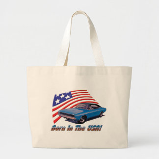 """1968 Dodge Charger """"Born in the USA"""" Large Tote Bag"""