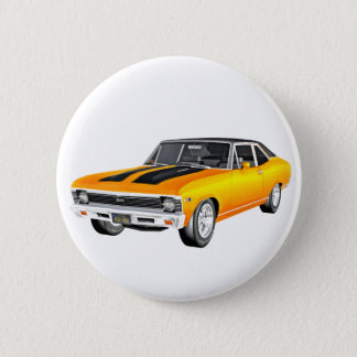 1968 Gold Muscle Car 2 Inch Round Button