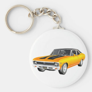 1968 Gold Muscle Car Basic Round Button Keychain