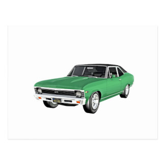 1968 Green Muscle Car Postcard