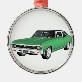 1968 Green Muscle Car Silver-Colored Round Ornament