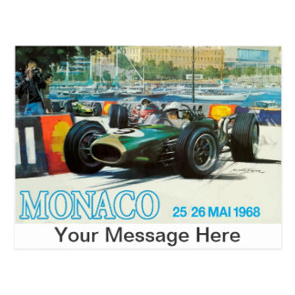 1968 Monaco Grand Prix Postcard w Custom Message!