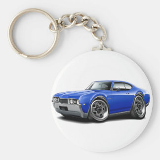 1968 Olds 442 Blue Car Keychain
