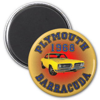 1968 Plymouth Barracuda Magnet. 2 Inch Round Magnet