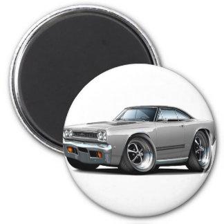 1968 Plymouth GTX Silver-Black Top Car Magnet