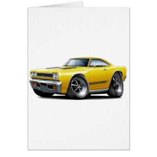 1968 Plymouth GTX Yellow-Black Car Card