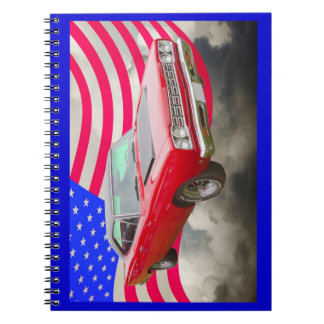 1968 Plymouth Roadrunner And American Flag Spiral Notebook