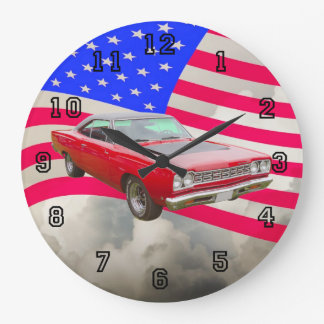 1968 Plymouth Roadrunner And American Flag Wall Clock