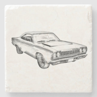 1968 Plymouth Roadrunner Muscle Car Illustration Stone Beverage Coaster