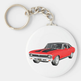 1968 Red Muscle Car Basic Round Button Keychain