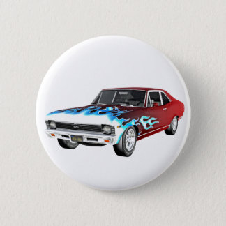 1968 Red White and Blue Muscle Car 2 Inch Round Button