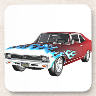 1968 Red White and Blue Muscle Car Beverage Coaster