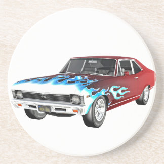 1968 Red White and Blue Muscle Car Beverage Coasters