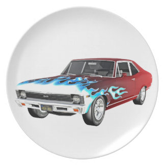 1968 Red White and Blue Muscle Car Plate