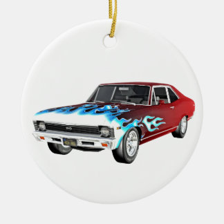 1968 Red White and Blue Muscle Car Round Ceramic Ornament