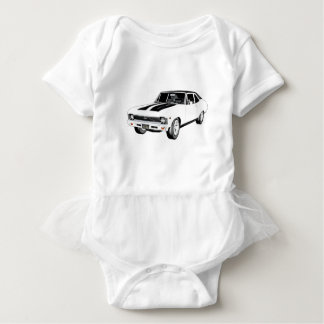 1968 White Muscle Car Baby Bodysuit