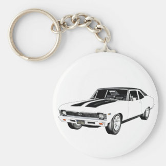 1968 White Muscle Car Basic Round Button Keychain