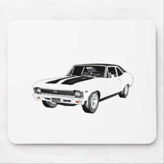 1968 White Muscle Car Mouse Pad