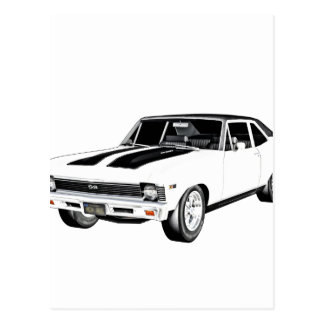 1968 White Muscle Car Postcard