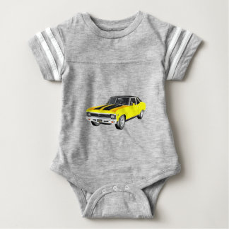1968 Yellow Muscle Car Baby Bodysuit