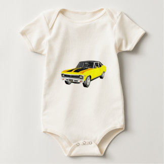 1968 Yellow Muscle Car Baby Bodysuit