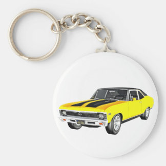 1968 Yellow Muscle Car Basic Round Button Keychain