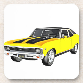 1968 Yellow Muscle Car Beverage Coasters