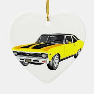 1968 Yellow Muscle Car Ceramic Heart Ornament