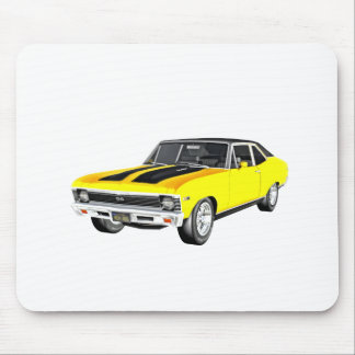 1968 Yellow Muscle Car Mouse Pad