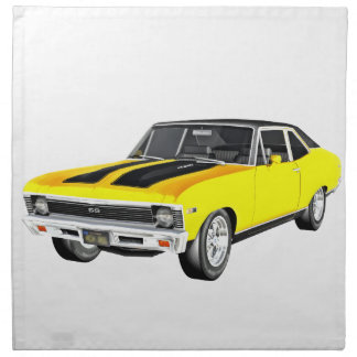 1968 Yellow Muscle Car Napkin