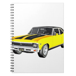1968 Yellow Muscle Car Notebooks