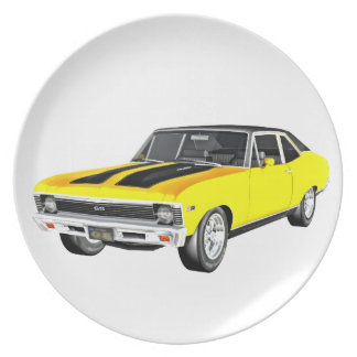 1968 Yellow Muscle Car Plate