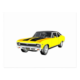 1968 Yellow Muscle Car Postcard