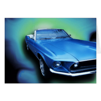 1969 Blue Mustang Vintage Car card