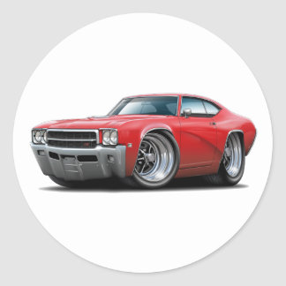 1969 Buick GS Red Car Classic Round Sticker