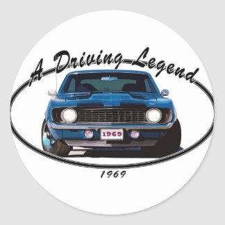 1969_camaro_blue_front classic round sticker