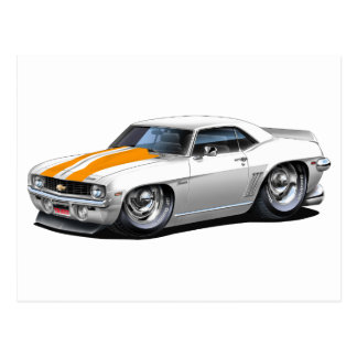 1969 Camaro SS White-Orange Car Postcard