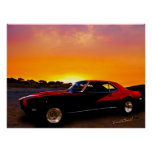 1969 Camaro Up At Rocky Ridge For Sunset Poster