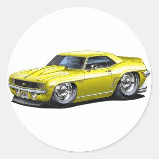 1969 Camaro Yellow Car Classic Round Sticker