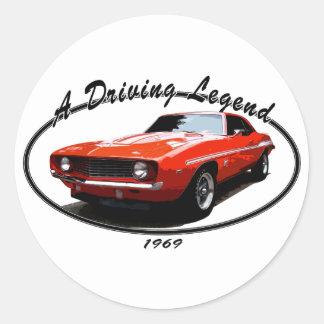 1969_camaro_yenko_orange classic round sticker