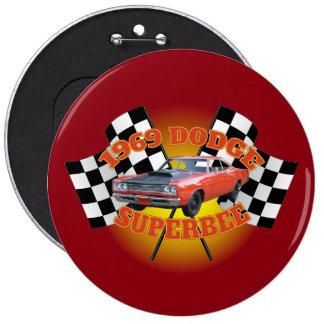 1969 Dodge Super Bee Button. 6 Inch Round Button